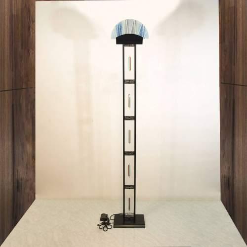 Leucos | Lampada in acciaio laccato nero e lastre in vetro di murano