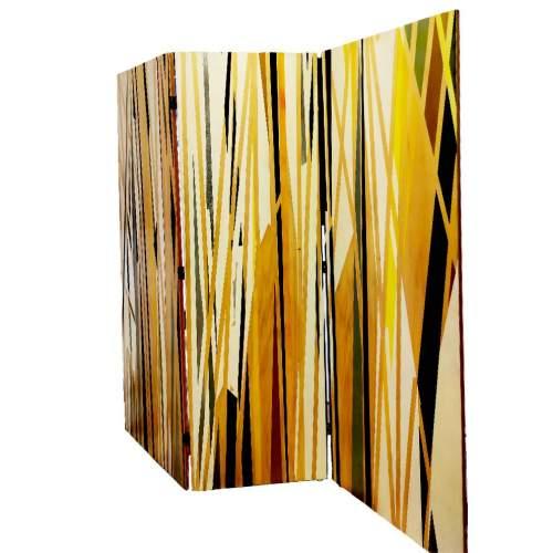 Angelo Rinaldi |  Paravento composta da tre pannelli in legno dipinto | h.cm.181x180 | firmato
