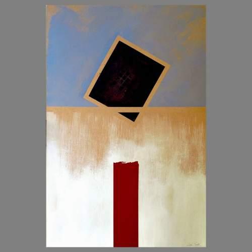 """Angelo Rinaldi, """"Astratto AR 2"""", acrilico su faesite, h. cm. 118x77, anno 2013, cat. cop. Rossa"""