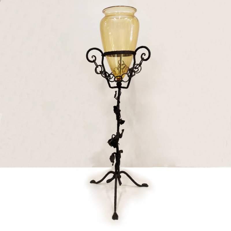 Umberto Bellotto e  Giacomo Cappellin | Grande Vaso in vetro  |   ferro battuto | h cm. 110x34| vaso cm. 40