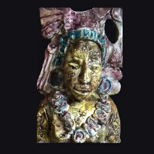 """Mario Anselmo per Albisola """"Sacerdote Incas """", scultura in terracotta, h.cm.31,5,particolare"""