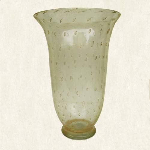 Archimede Seguso| Vaso  conico in vetro trasparente con bollee foglia oro  incluse| h.cm. 31x21| anni '60