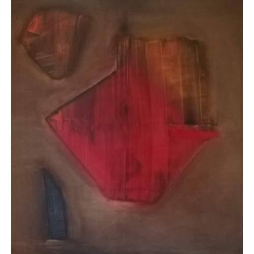 """Lorena Ulpiani , """"Diaspro e l'arcano, energia del primo chakra"""", olio su tela, h.cm.100x100x 2,5,2020"""