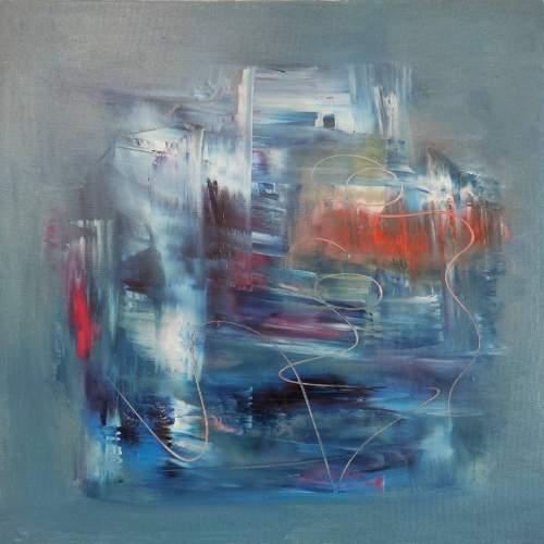 """Lorena Ulpiani , """"Figlio del temporale"""", olio su tela, h.cm.60x60x 2 , 2020"""