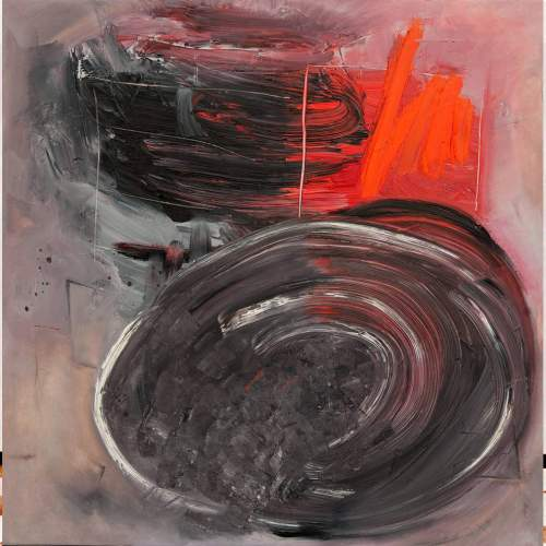 """Lorena Ulpiani , """"Lo specchio del Maestrale"""", olio su tela, h.cm.100x100x 2, 2020"""