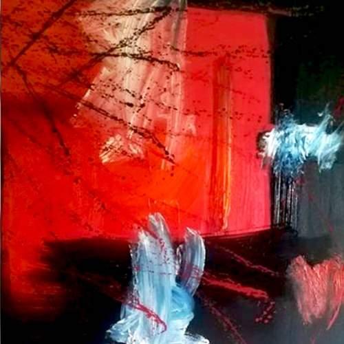 "Lorena Ulpiani , ""Memorie destrutturate"", olio su tela, h.cm.100x100x 2,5,   2020"