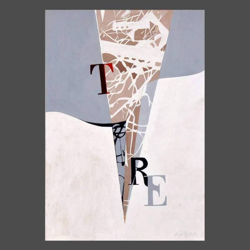 """Angelo Rinaldi  """"Tre""""  acrilico su cartapaglia  cm. 60x44  anno 1993"""