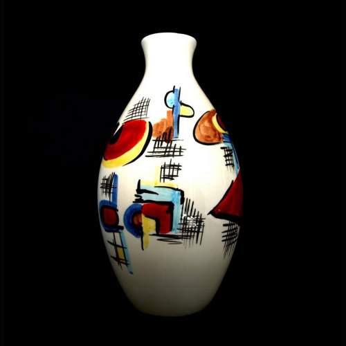 Artistica Aretini, vaso in ceramica ovoidale, decori astratti su fondo bianco, cm. 27, marchio