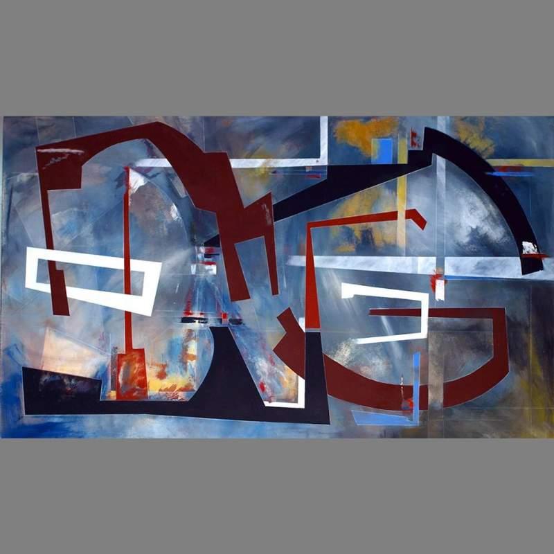 """Angelo Rinaldi  """"Astrazione Astrale""""  acrilico su tela  h.cm. 100x170   anno 1970-2012"""