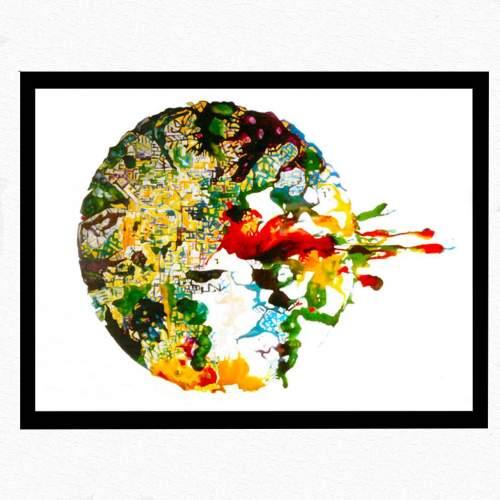 "Angelo Rinaldi | ""Esplosione - Virus"" | vernici su perpex | h.cm.250x350 | Anno 1987"