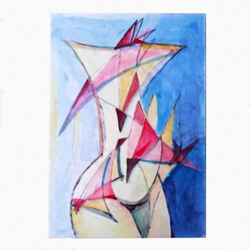 """Guido Dragani, """" Torso di Donna con 28 triangoli """", tecnica mista, h.cm. 100x70"""