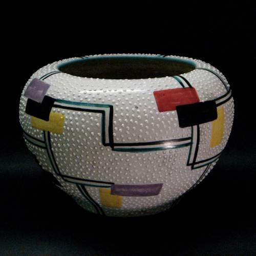 ARS DE RUTA Italy, cachepote, ceramica barbotine, disegni a smalti lucidi astratti, h.cm.14x20, anni 50