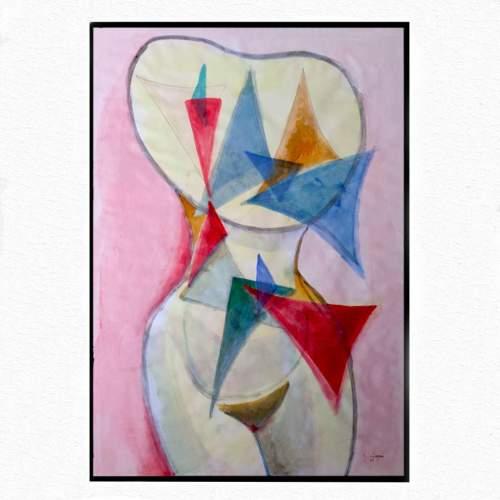 """Guido Dragani, """" Torso di Donna con 28 triangoli """", tecnica mista, h.cm. 100x70, anno 2006"""