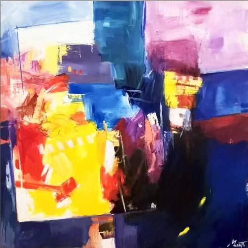 """Luigi Marotti, """"Colori della città"""", Olio su tela, h. cm. 100x100, anno 2020, autentica autore"""