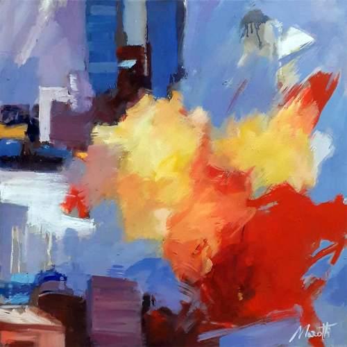 """Luigi Marotti, """"September in city parck"""",olio su tela, h.cm. 50x50, anno2020, autentica autore"""