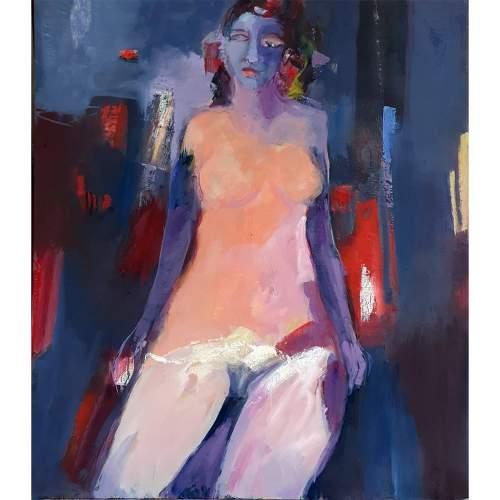 """Luigi Marotti, """"September in city parck"""",olio su tela, h.cm. 80x70, anno2020"""