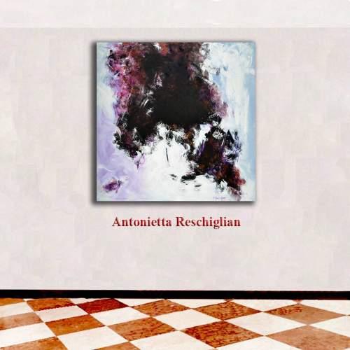 """Antonietta Reschiglian, """"Annunciando il nuovo giorno"""", tecnica mista su tela , h.cm. 100x100"""