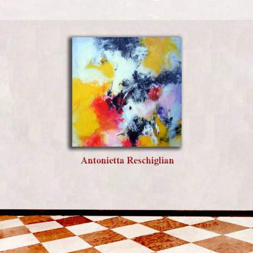 "Antonietta Reschiglian, ""Squarci di realtà"", tecnica mista su tela, h.cm. 100x100"