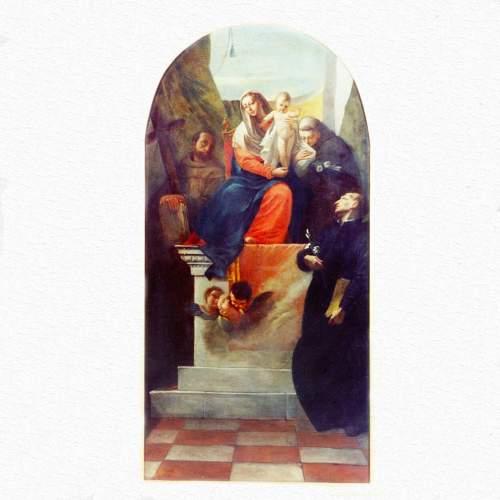 """Francesco Zugno,""""Madonna in trono con bambino, S.Gaetano da Thiene, S.Francesco e S. Antonio""""olio su tela h.cm.176x97"""