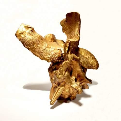 """Guido Dragani, """"Amore sconposto"""", scultura in terracotta dorata, h cm. 36x37x23"""