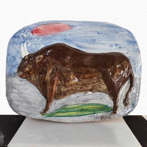Germano Emanueli,Toro, scultura a bassorilievo