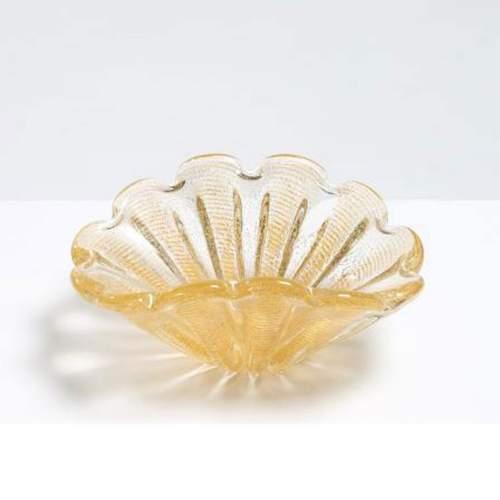 ERCOLE BAROVIER, BAROVIER e TOSO, vaso in vetro cordonato oro, h.cm.26x13, anni 50