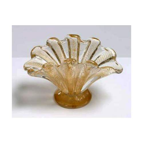 Barovier  Ercole Centrotavola in cristallo cordonato oro, h.cm.26x13, anni ''60, Barovier e Toso