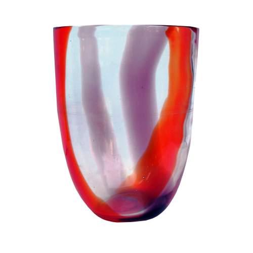 Bianconi Fulvio, Mazzega, Vaso in vetro soffiato, Fasce verticali ametista, rosso, trasparente ,cm. 23,  O 17,5