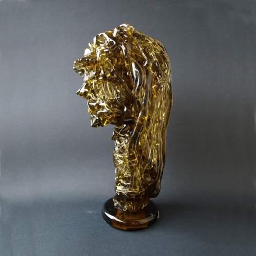 FELICE CARENA, vetreria ALDO NASON, Volto, scultura realizzata da filamenti contorti in rilievo, h.cm.40x18, anno 1970