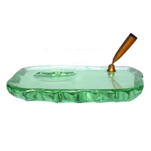 FONTANA ARTE, portapenne da scrivania, base in cristallo con effetto scheggiatura, e lucidato, cm.2.5x22x15