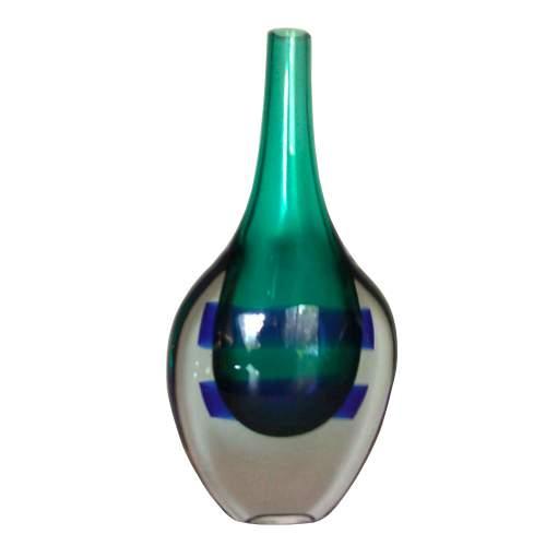 """LUCIANO GASPARI per  SALVIATI & C., """" Marine """" vaso bottiglia in vetro sommerso con fasce orizzontali, h.cm.28, anno 65."""