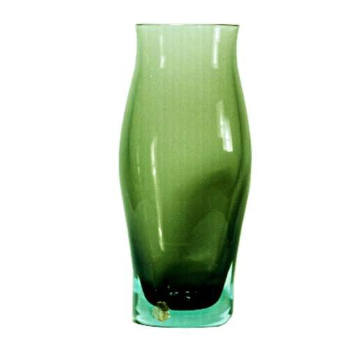 FLAVIO POLI, SEGUSO Vetri d'Arte, vaso in vetro verde sommerso Ovaliforme, h.cm.31,4x14, anno 1950-60, etichetta originale