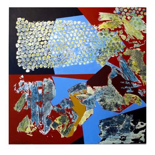 """ANGELO RINALDI  """" Frammenti """", acrilico su tela, cm.100x100, firmato e datato 1970/2012"""