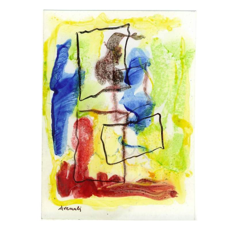 """Avenali Marcello """" astratto """", vernice su cartoncino, cm.14x10,5, firmato e datato 1971"""