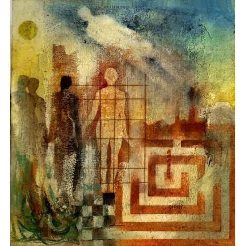 """Balsamo Renato,""""racconto-labrinto, cielo"""" tecnica mista su cartone,cm.27,5x30,firmato, datato 1966"""