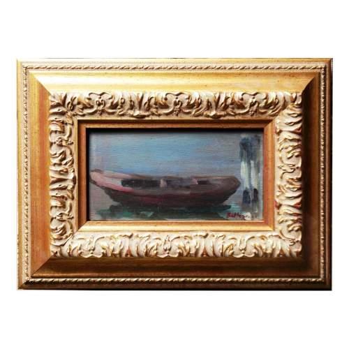 """Beltrame Achille """"guscio alla briccola """", olio su tavoletta, cm.38x28, firmato, con cornice"""
