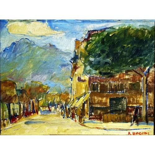 """Bogoni Adriano """" Monforte d'Alpone """", olio su tavoletta, cm.24,2x18,4, firmato,con cornice dorata."""