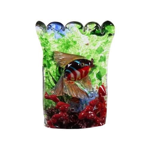 """ALFREDO BARBINI (1912/2007), applique """" Acquario con pesce e coralli """", in vetro massello, h.cm.21x13, anni 50/60, Firmata"""