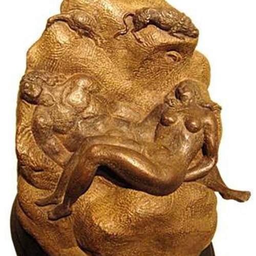 """Boni Toni ( 1907 - 1980) """"Adamo ed Eva """", bronzo patinato, cm.40 , anni 1940,"""