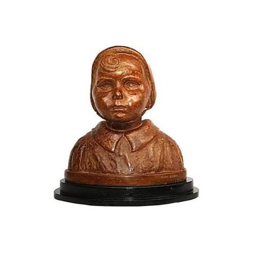 """Boni Toni ( 1907 - 1980 ) """"ritratto di bambina"""",bronzo patinato, cm.40, anni 1930"""