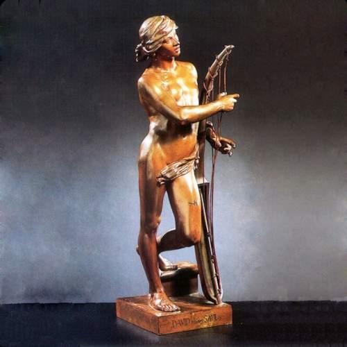 """HONORE' ICARD """"Davide davanti Saul"""",scultura in bronzo patinato, h.cm.49x17x13,5"""