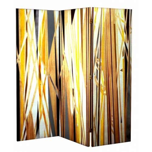 """ANGELO RINALDI """"Omaggio a Paolo Uccello"""", Paravento composta da tre pannelli in legno dipinto, h.cm.181x180, firmato e datato"""
