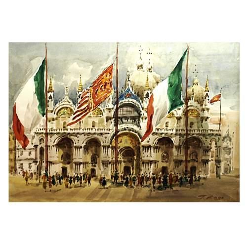 """GIORGIO ZAGO  """" Piazza san Marco """", acquarello su carta, cm.35x50, firmato"""