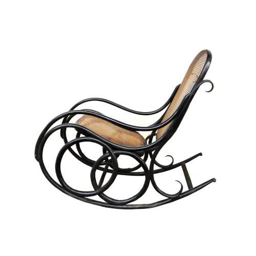 THONNET , dondolo, in faggio curvato e laccato nero, Bentwood rocking chair N° 4, anno 1880