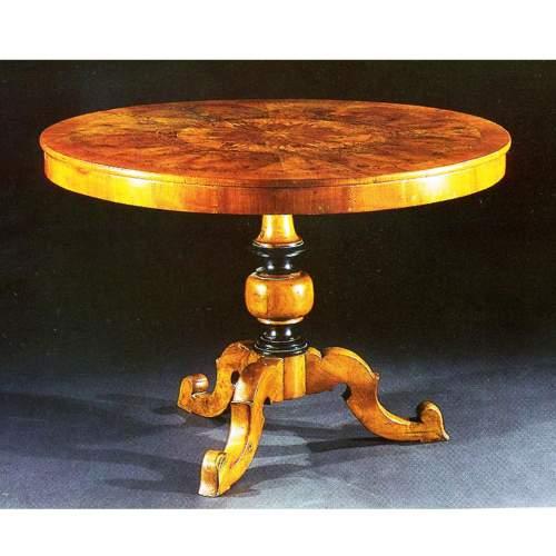 TAVOLO rotondo,Reggiolo Rolo, tavolo da pranzo rotondo,intarsi di essenze rare H.cm.80x114, XIX sec.