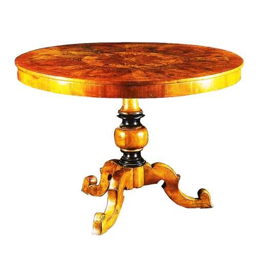 Tavolo rotondo,Reggiolo Rolo, tavolo da pranzo rotondo,intarsi di essenze rare cm.80x114, del XIX sec.