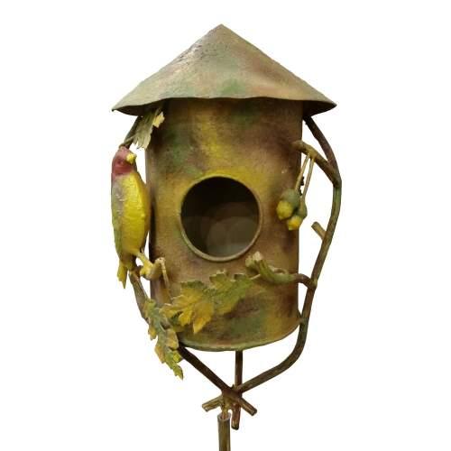 Callegaris, casetta per uccellini, in ferrro battuto, dipinto,firmato, epoca '900
