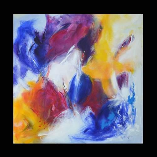 Antonietta Reschiglian, spezzare l incanto, acrilico su tela,  cm. 80x80, anno 2015
