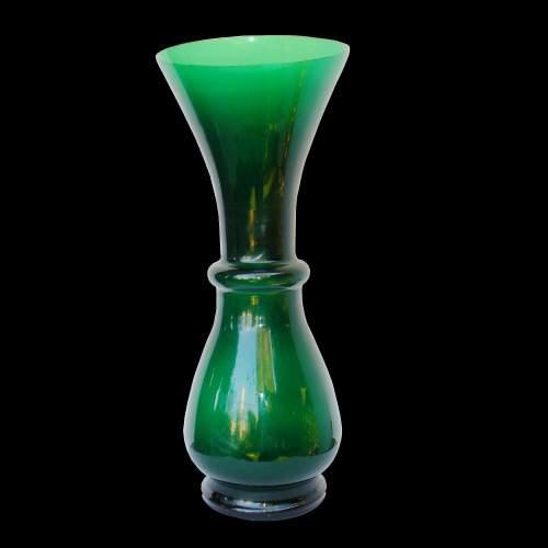 SERGIO ASTI per SALVIATI & C., grande vaso a Balaustra in vetro verde, h.cm.47