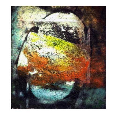 """Thon """" Solar winds """", tecnica mista su tela, cm.100x100, firmato e datato 2004"""